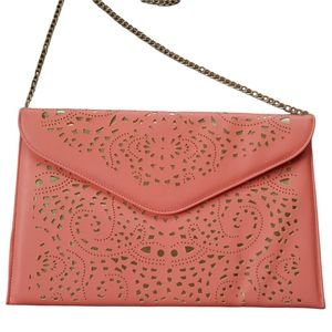 Retro 70/80s Style Pink/Gold Cut Outs Faux Leather Clutch Purse NWT